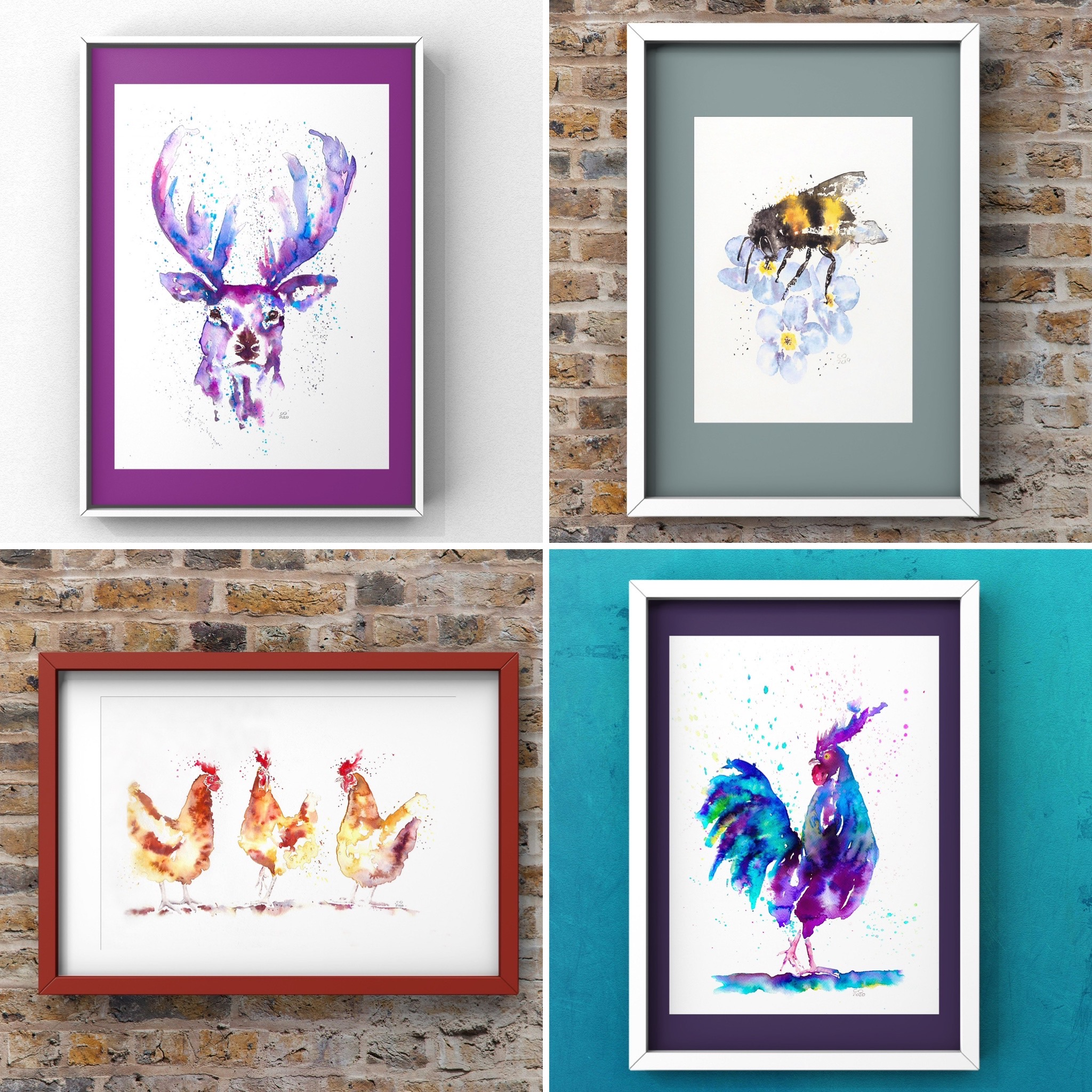 Four watercolour paintings. One blue and purple stag, one bee on blue flowers, one trio of hens and one rainbow cockerel.